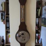 Metal/Fonta - Barometru+higrometru belgian, lemn si alama, h=45 cm