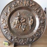 Aplica flamanda din cupru, scena medievala, diam = 48 cm - Metal/Fonta