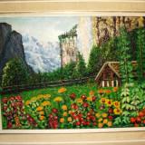 Tablou in ulei - semnat - inramat - tehnica cutit - Pictor roman, Peisaje, Impresionism