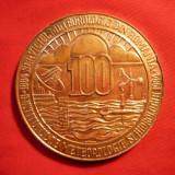 Medalii Romania - Placheta 100 Ani -Institut Meteorologic, bronz, d=6 cm