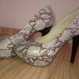 Vand pantofi de dama cu platforma - Pantofi dama, Marime: 35, Argintiu
