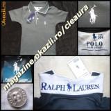 TRICOU firma brand POLO by RALPH LAUREN COPII VARSTA 10 11 12 ANI GRI SOBOLAN cu ALB BUMBAC 100% TRICOURI BAIETEI COLECTIE NOUA