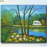Tablou peisaj clasic (6) - ulei pe panza 60x50cm - Pictor roman, Peisaje, Altul