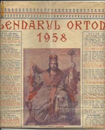 CALENDAR CRESTIN ORTODOX -  1958 foto