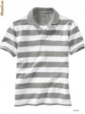 Tricou barbati Gap, Maneca scurta, Bumbac - GAP - tricou polo barbati dungi alb-gri marime S sau L 100% original!