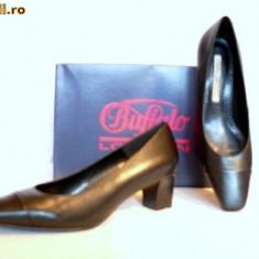 Pantofi dama Buffalo, Piele naturala - Pantofi comozi, Buffalo, piele, (11800-499 BLACK)