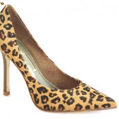 Superbi pantofi pentru femei, Pantofi Buffalo, aspect tigru, piele ponei, (6866-301 TIGRE) - REDUCERE EXCEPTIONALA DE PRET - Pantof dama Buffalo, Marime: 37, 39, 40, 41, Culoare: Maro, Piele naturala