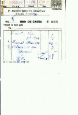 Hartie cu Antet - Doc.15- P.Andreescu Fii, Craiova -Sectia Fierarie -1933