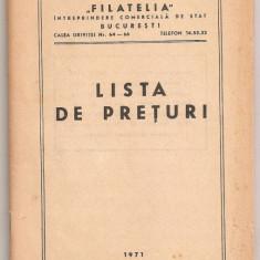 (C152) LISTA DE PRETURI 1971, FILATELIA
