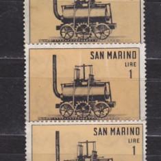 Timbre straine - Timbre San Marino 1964 Locomotive de Epoca nestampilate