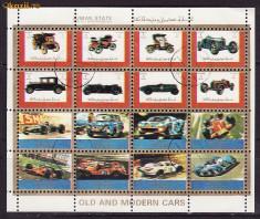 Timbre Romania - Ajman serie stampilata de masini coala mica de 16 buc., S 13
