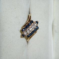 Inel aur safire si diamante