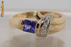 Superb inel aur galben14K tanzanit natural si diamante naturale 3.65gr, 46 - 56