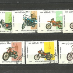 AFGHANISTAN 1985 - MOTOCICLETE, SERIE TIMBRE STAMPILATA, B212
