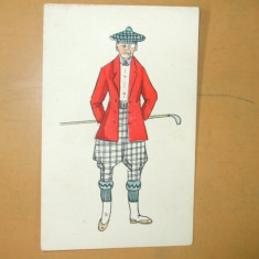Carte postala Ilustratori desen barbat costum golf crosa sapca lornion - Crose golf