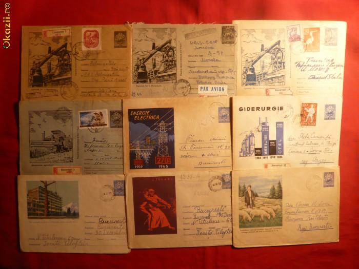 9 Plicuri Postale Ilustrate - Intreg -Industrie si Agricultura foto mare