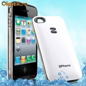 QYG 2Phone transforma iPhone 4/4S in Telefon Dual SiM - Dual CPU + Teleconferinta intre SiM-uri -alb foto mare