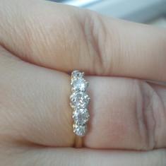 Superb inel banda / verigheta aur galben 18K cu diamante naturale 0.60CT