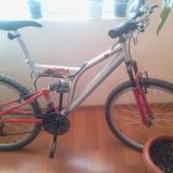 Bicicleta de oras DHS, 22 inch, V-brake, Curbat(Risebar), Otel, Cu amortizor - BICICLETA DHS KREATIV ROCKET