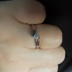 Superb inel solitaire din aur alb 18K diamant natural alb 0, 15CT - Inel diamant, 46 - 56