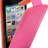 Toc din piele roz APPLE IPOD TOUCH 4G 4th Gen  husa + folie ecran+ expediere gratuita cu posta