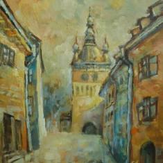 Tablou pictat in ulei pe panza cetatea Sighisoara semnat Emilia Ardelean UNICAT!!, Peisaje, Realism