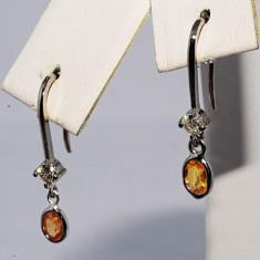 Superbi cercei aur alb 14K cu diamante si safire naturale orange 0.90CT, ieftini