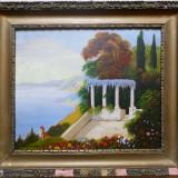 Tablou - Terasa la malul marii, pictura semnata si datata