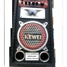 BOXE AMPLIFICATE, SISTEM COMPLET KARAOKE 200 WATT, STICK/CARD, MICROFOANE, EFECTE.+BONUS 2 MICROFOANE PROFESIONALE. - Echipament karaoke