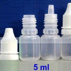 Sticla de plastic 5 ml. - cu picurător pt. E-liquid - Tutungerie