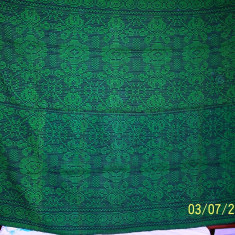 Covor vechi - Covor din lana traditional autentic taranesc, tesut manual la razboi, cu model geometric specific, verde, Ardeal/ Transilvania-Alba, 1950, NOU