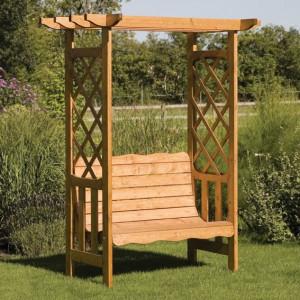 Banca din lemn cu pergola pentru gradina foto