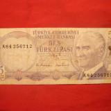 Bancnota 5 Lire TURCIA, 1970, cal.mediocra