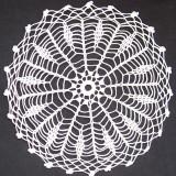 Mileu/dantele crosetate manual din bumbac alb, model specific ramanesc, Ardeal-Alba, 1950, stare IMPECABILA - tesatura textila