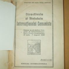 Directivele si statutele Internationalei Comuniste 1920 - Carte Editie princeps