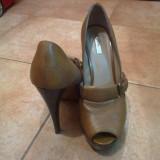 Pantofi dama Zara, Marime: 40, Maro - Pantofi Zara piele, marimea 40