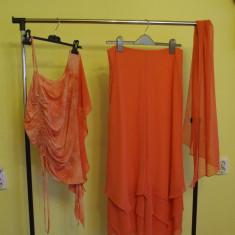 COMPLEU DIN VOAL LUREX, PANTALON BLUZA ESARFA - Costum dama, Culoare: Roz