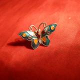 1 Cercel  Fluture- Argint emailat - marcat ,1,3 x 2 cm