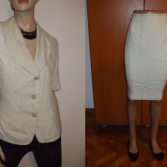 Costum / compleu dama 2 piese sacou + fusta crem ivoire material triplu voal marimea 46 Moda Aliss - Costum dama, Costum cu fusta