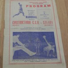 PLIANT -PROGRAM HANDBAL CONSTRUCTORUL CSU ORADEA - STEAUA BUCURESTI, 17 SEPTEMBRIE 1981 - Carte Hobby Sport