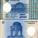 Bancnota Straine, Asia - TADJIKISTAN- 5 DIRAM 1999- UNC!!