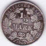 Germania 1/2 Mark 1905 A argint