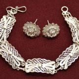 Set Argint bratara si cercei filigran - Set bijuterii argint
