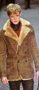 Palton din piele cu captuseala de blana 100% natural, de iarna, pentru barbati, vintage foto