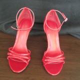 Sandale dama, Marime: 36.5, Rosu - SANDALE DE LAC ROSII, NOI,