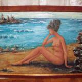 Nud la malul marii, tablou in ulei pe carton semnat Silvia Arsene si datat 1971 - Pictor roman, Impresionism