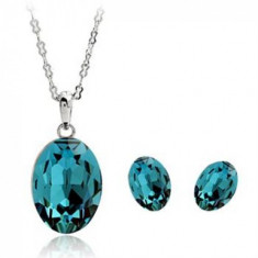 Set Turquoise Crystal cu Crystale de tip Swarovski si placat cu aur de 18k - Set Swarovski