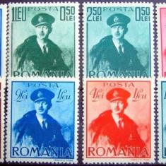 Timbre Romania, An: 1940, Regi, Nestampilat - 1940 Regele Carol II cu pelerina serie 8v ** mnh nestampilate fara sarniera