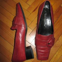 Pantofi dama PIELE ROSIE masura 37 - marca TAMARIS - Mocasini dama, Culoare: Rosu