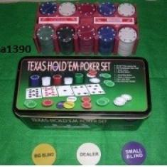 Set Poker Texas Hold ' Em 200 jetoane inscriptionate + doua pachete carti